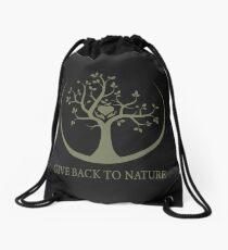 Give Back to Nature - Kaki Grunge Drawstring Bag