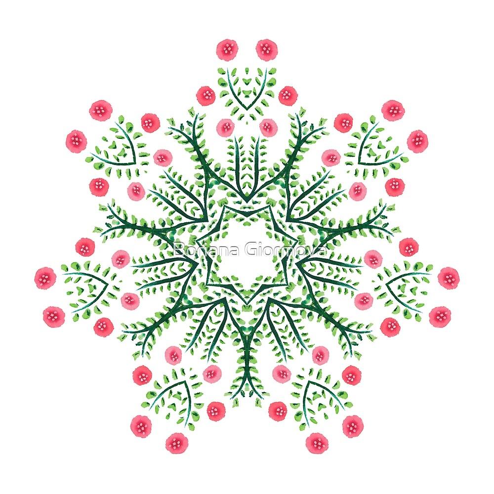 Ink Drawn Abstract Flowers Mandala by Boriana Giormova