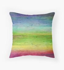 Rainbow Stained Wood  Throw Pillow