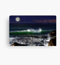 Seascape with Moon Canvas Print