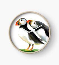 Atlantic Puffin Birds Watercolor Painting Wildlife Artwork Clock