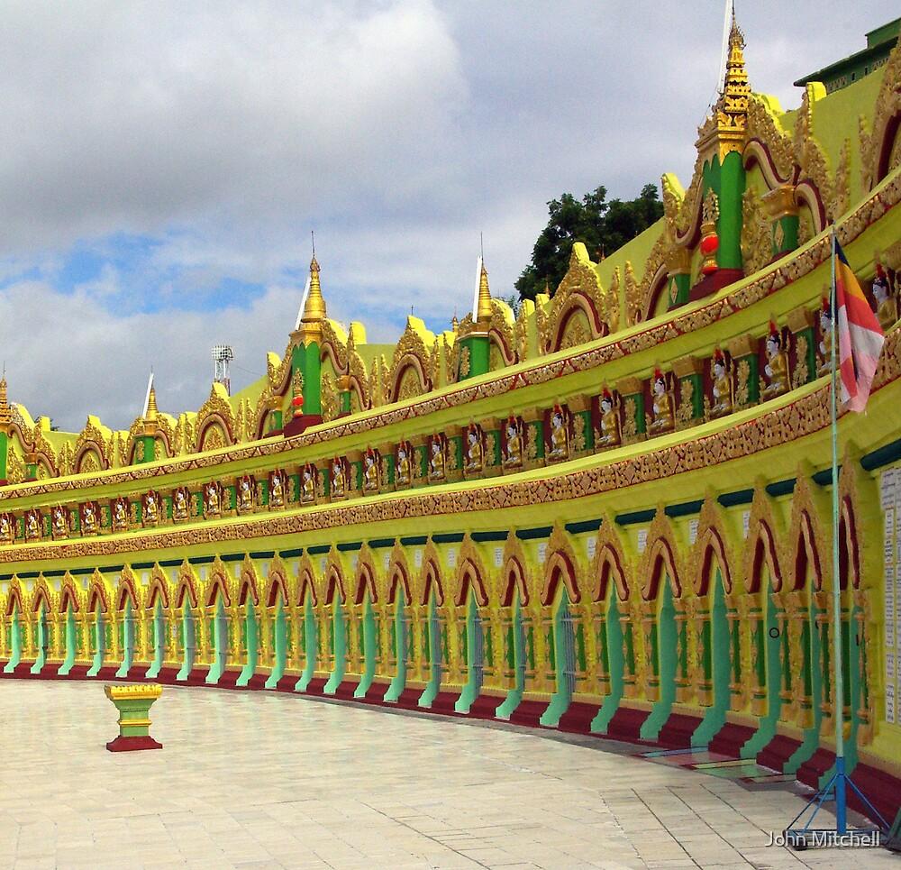 Temple, Sagaing Hill, overlooking Mandalay, Burma. by John Mitchell