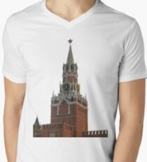 The famous Spasskaya tower of Moscow Kremlin, Russia Men's V-Neck T-Shirt