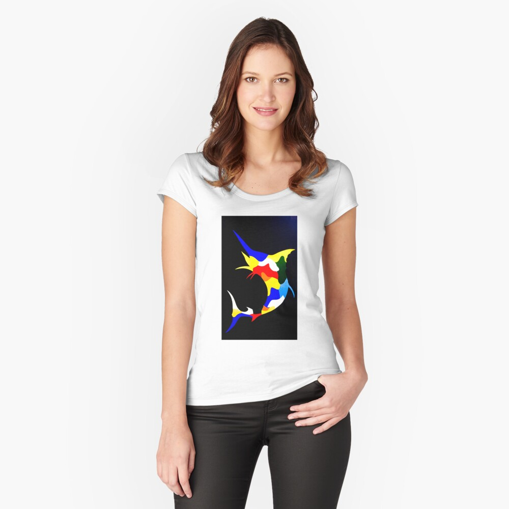 Salty Marlin Women's Fitted Scoop T-Shirt Front