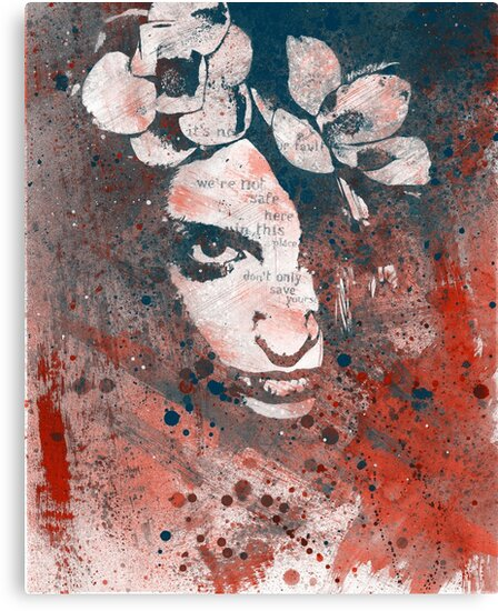 Red Hypothermia (graffiti spray paint art portrait with flowers) by Marco Paludet