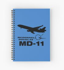 McDonnell Douglas MD-11 - Silhouette (Black) Spiral Notebook