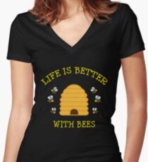 Bee Gift Beehive Life Is Better With Bees Beekeeper Present Women's Fitted V-Neck T-Shirt