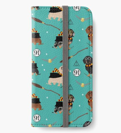 dachshund witch wizard dog breed magic gifts iPhone Wallet