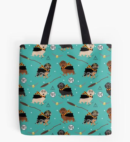 dachshund witch wizard dog breed magic gifts Tote Bag