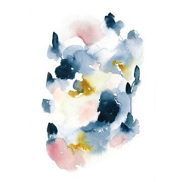 Indigo Abstract Watercolor  by luisanino