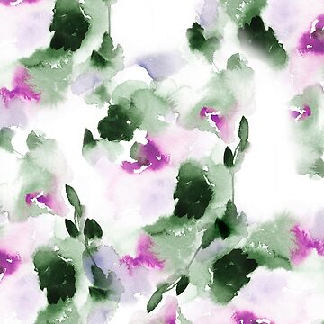 Green and violet Spring Abstract Watercolor  by luisanino