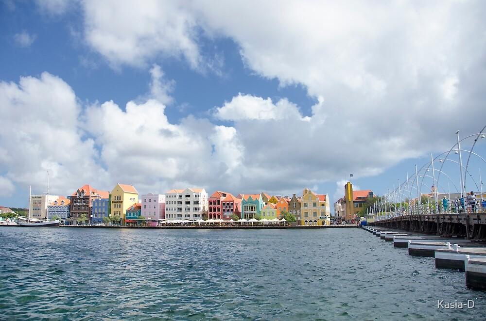 Handelskade and Queen Emma Bridge, Willemstad, Curacao by Kasia-D