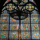 Angelic Stained Glass, Notre Dame, Paris by Steve Rhodes