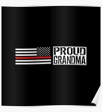 Firefighter: Proud Grandma (Black Flag, Red Line) Poster