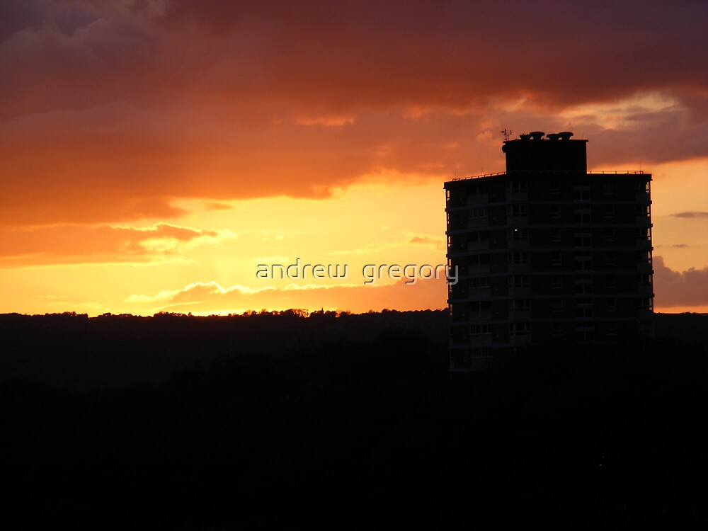 sunset over sheffield  by andrew  gregory