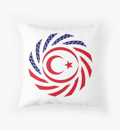 Northern Cyprus American Multinational Patriot Flag Series Throw Pillow