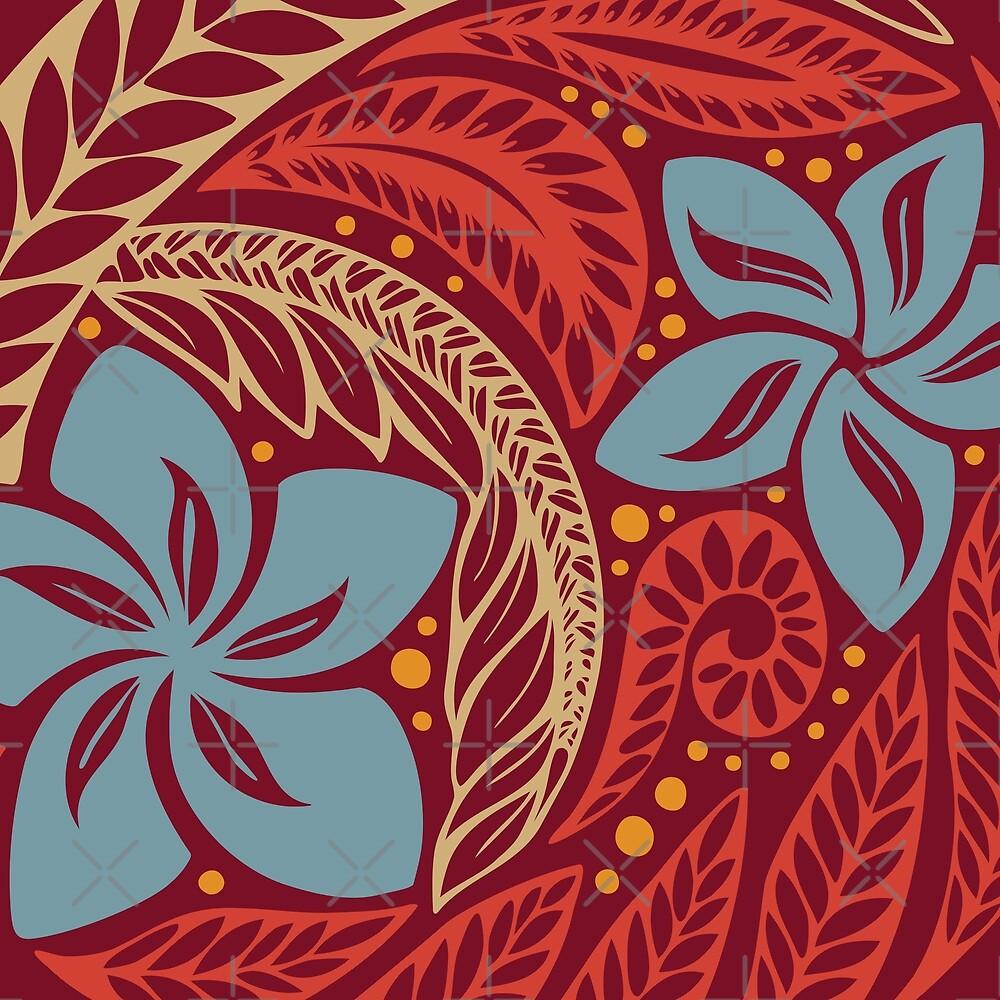 Polynesian hawaiian red blue floral tattoo design by ayelet fleming polynesian hawaiian red blue floral tattoo design by ayelet fleming izmirmasajfo