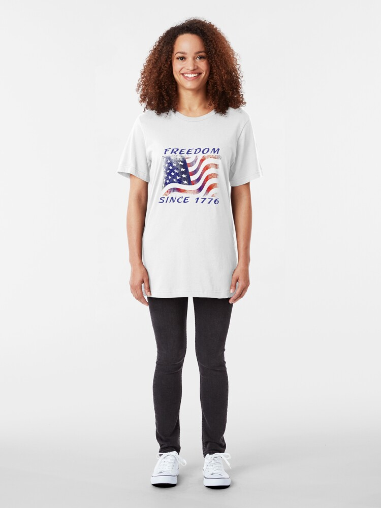 Alternate view of Freedom Since 1776 USA Patriotic Tee and Things Slim Fit T-Shirt