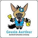 Cousin Aarthur the Aardwolf sticker by PegMcClureLLC