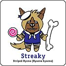 Streaky the Striped hyena - on a sticker! by PegMcClureLLC