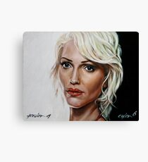 battlestar galactica - cylon 6 - tricia helfer - oil on canvas Canvas Print