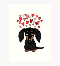 Black and Tan Long Haired Dachshund with Hearts Art Print