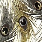 Gold and Silver Peacock Feathers by mindydidit