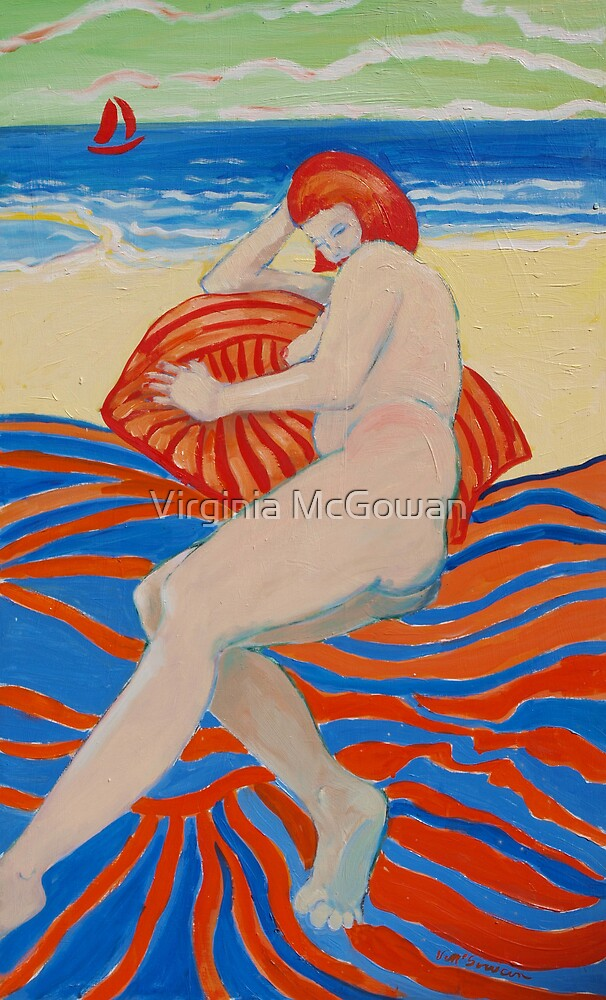 Beach girl with Striped towel by Virginia McGowan