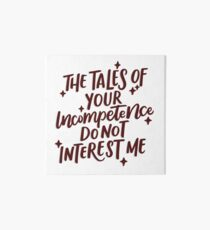 Tales of Incompetence - Red Art Board Print