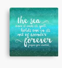 The Sea - Quote from Jacques Cousteau Canvas Print
