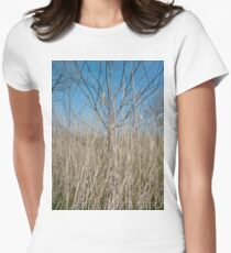 Happiness, Building, Skyscraper, New York, Manhattan, Street, Pedestrians, Cars, Towers, morning, trees, subway, station, Spring, flowers, Brooklyn Women's Fitted T-Shirt