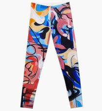 Expressive Abstract People Composition painting Leggings