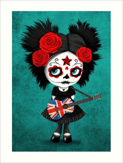 Sugar Skull Girl Playing Union Jack British Flag Guitar by jeff bartels