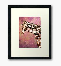 Mom and Baby Giraffe Framed Print