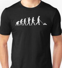 Evolution of man lawn mowing tshirt | Lawn mower Unisex T-Shirt