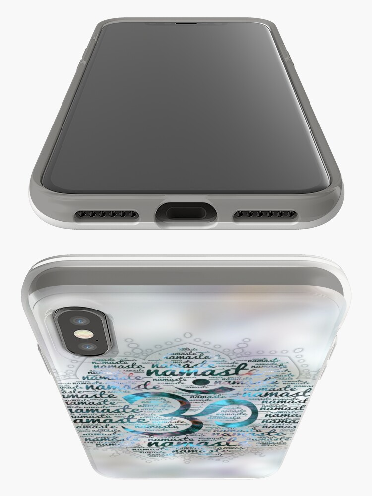 Alternate view of Labradorite Namaste Word Art in Lotus with OM symbol on pearl iPhone Cases & Covers