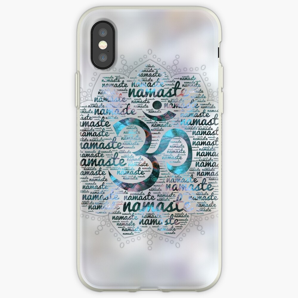 Labradorite Namaste Word Art in Lotus with OM symbol on pearl iPhone Cases & Covers