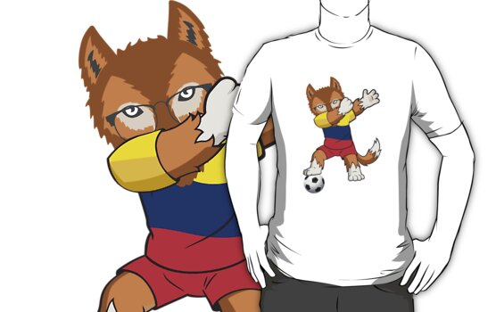 ae8e61126 Colombia Soccer Supporter Jersey Funny Dabbing Wolf World Football Fans T- Shirt