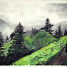 mountain scape hiker watercolor painting by Wieskunde