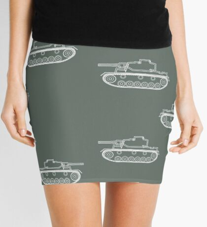 military tank silhouette funshirt for airsoft, paintball, gotcha and lasertag Mini Skirt