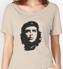 Che, Guevara, Rebel, Revolution, Marxist, Revolutionary, Cuba, Power to the people! Black on Red Women's Relaxed Fit T-Shirt