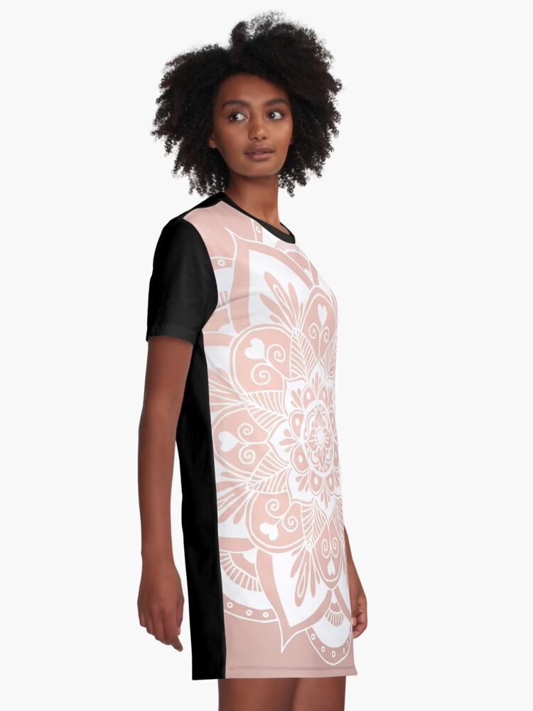 Alternative Ansicht von Blumenmandala auf Rosengold T-Shirt Kleid