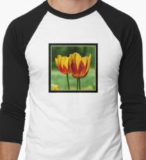 Yellow red tulips Men's Baseball ¾ T-Shirt