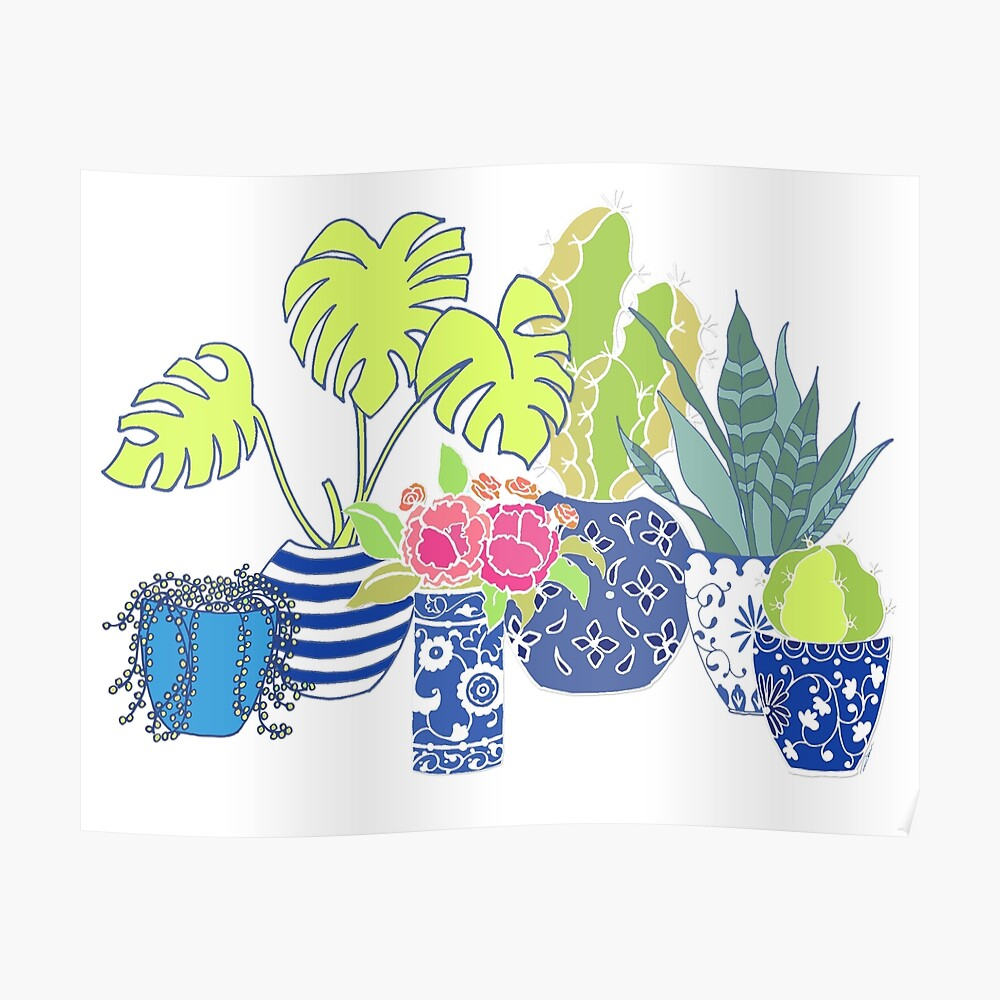 Chinoiserie Cactus Tumble Poster