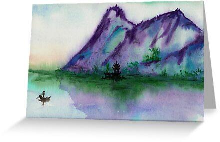Fishing at Dawn - Chinese Landscape Sumi-e by Brazen Design Studio
