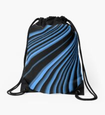 Black and blue arc Drawstring Bag