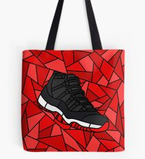 Retro 11 Playoff Red and Black Stained Glass Sneaker Tote Bag