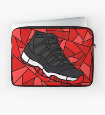 Retro 11 Playoff Red and Black Stained Glass Sneaker Laptop Sleeve