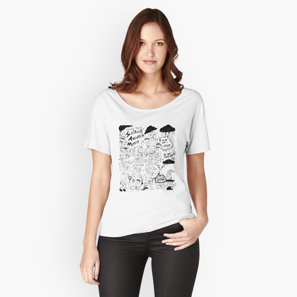 Socially Awkward Misfit comic doodles Relaxed Fit T-Shirt
