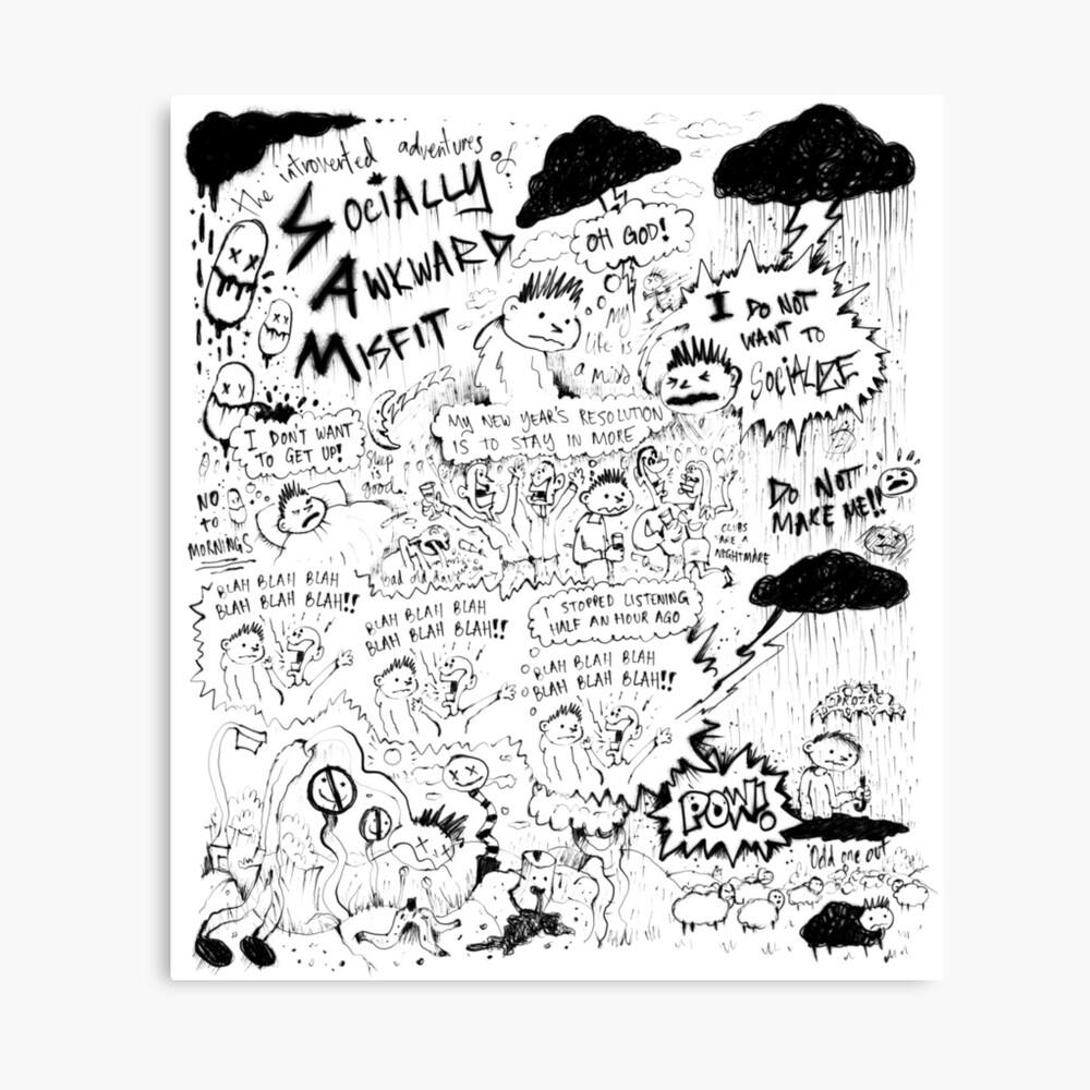 Socially Awkward Misfit comic doodles Canvas Print